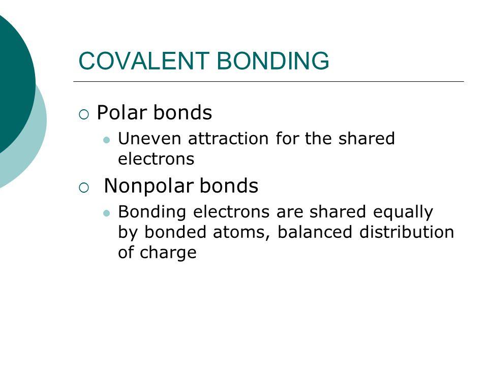 COVALENT BONDING Polar bonds Nonpolar bonds