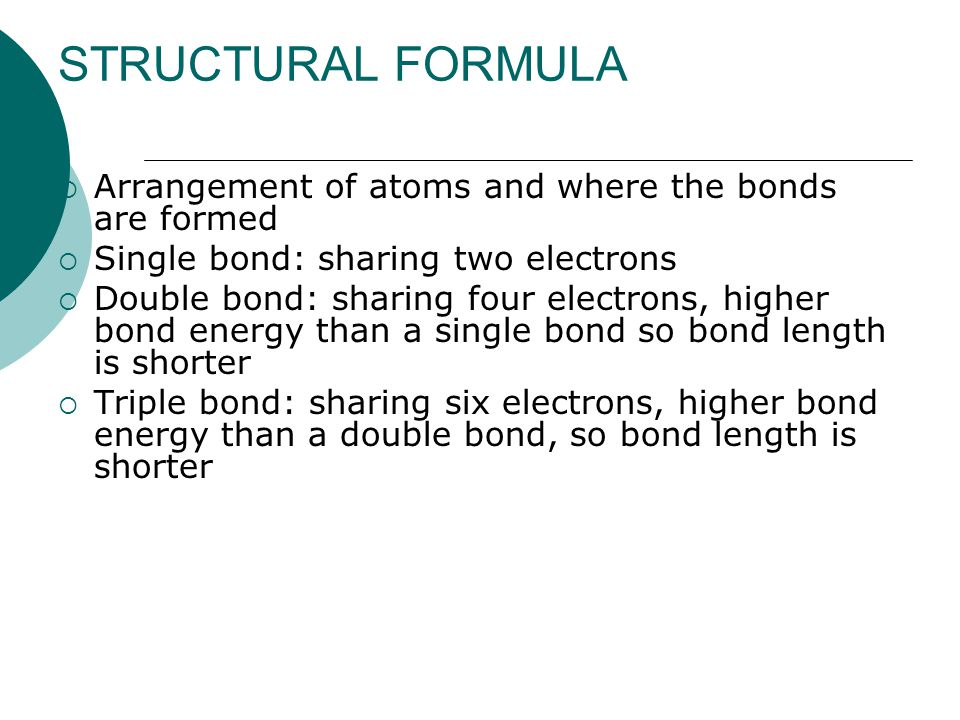 STRUCTURAL FORMULA Arrangement of atoms and where the bonds are formed