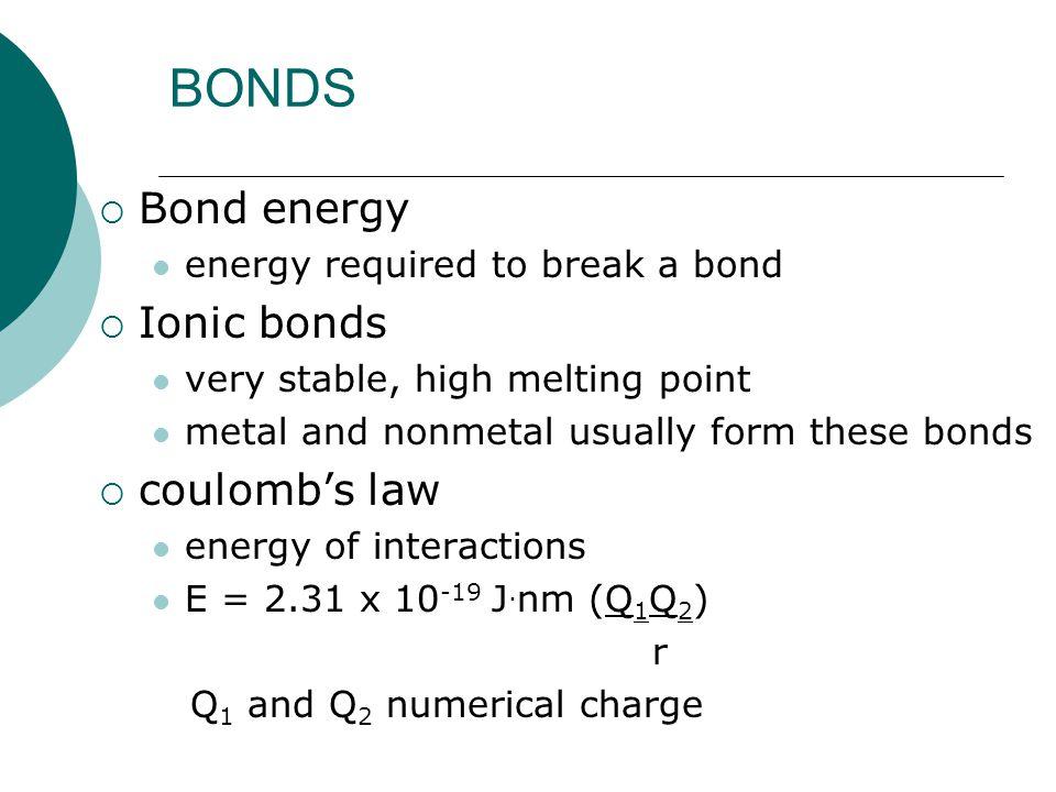 BONDS Bond energy Ionic bonds coulomb's law