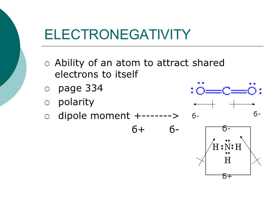 ELECTRONEGATIVITY Ability of an atom to attract shared electrons to itself. page 334. polarity. dipole moment +------->