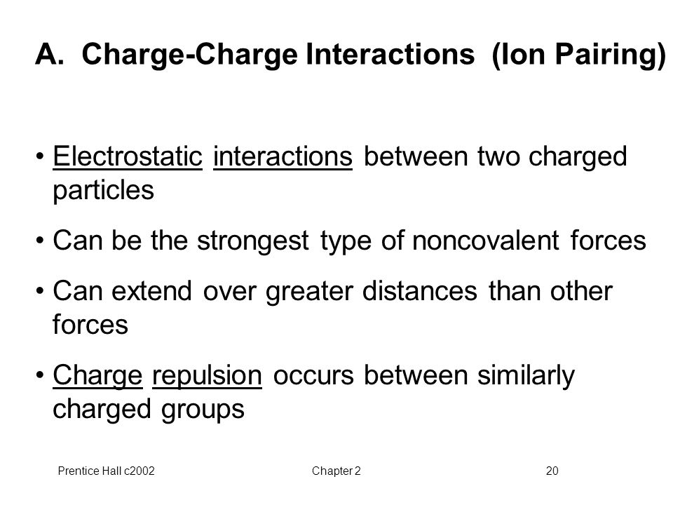 A. Charge-Charge Interactions (Ion Pairing)
