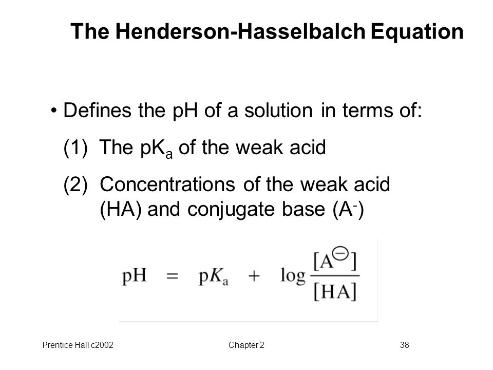 The Henderson-Hasselbalch Equation