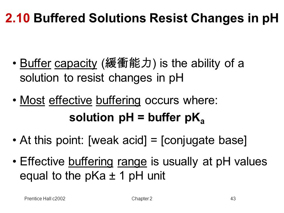 2.10 Buffered Solutions Resist Changes in pH