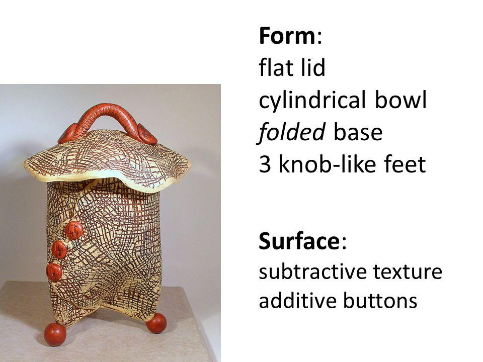Form: flat lid cylindrical bowl folded base 3 knob-like feet Surface: