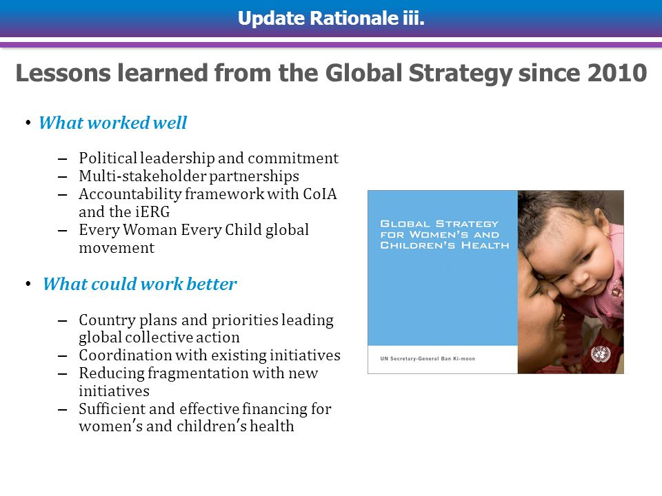 Lessons learned from the Global Strategy since 2010