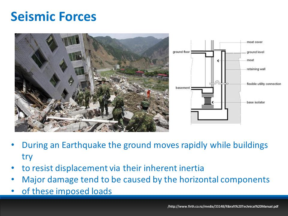 Seismic Forces During an Earthquake the ground moves rapidly while buildings try. to resist displacement via their inherent inertia.