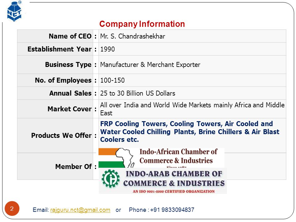 Company Information Name of CEO : Mr. S. Chandrashekhar