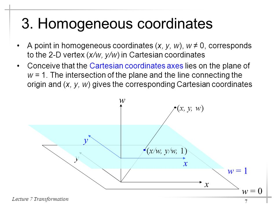 3. Homogeneous coordinates