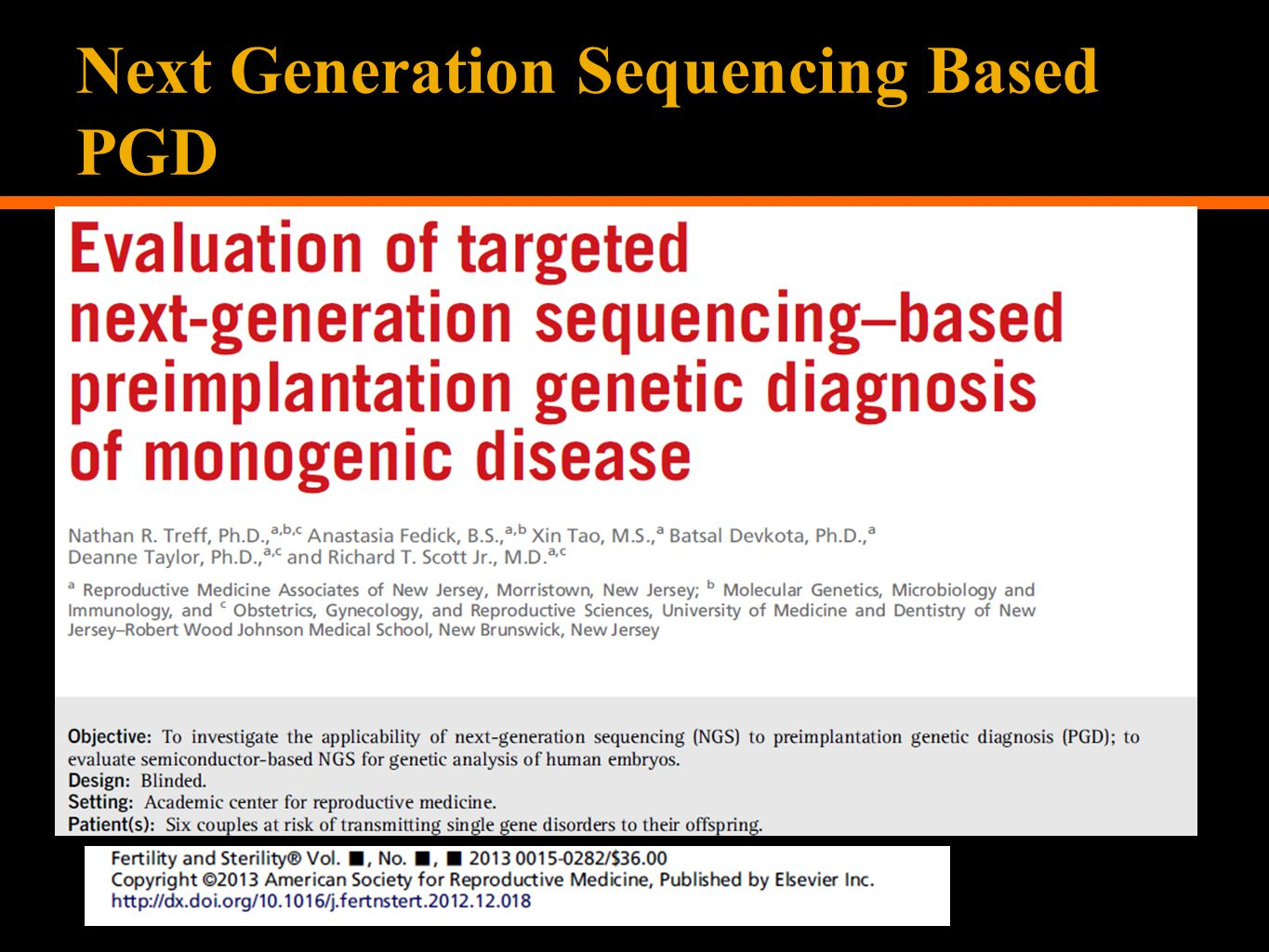 Next Generation Sequencing Based PGD