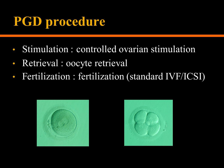PGD procedure Stimulation : controlled ovarian stimulation