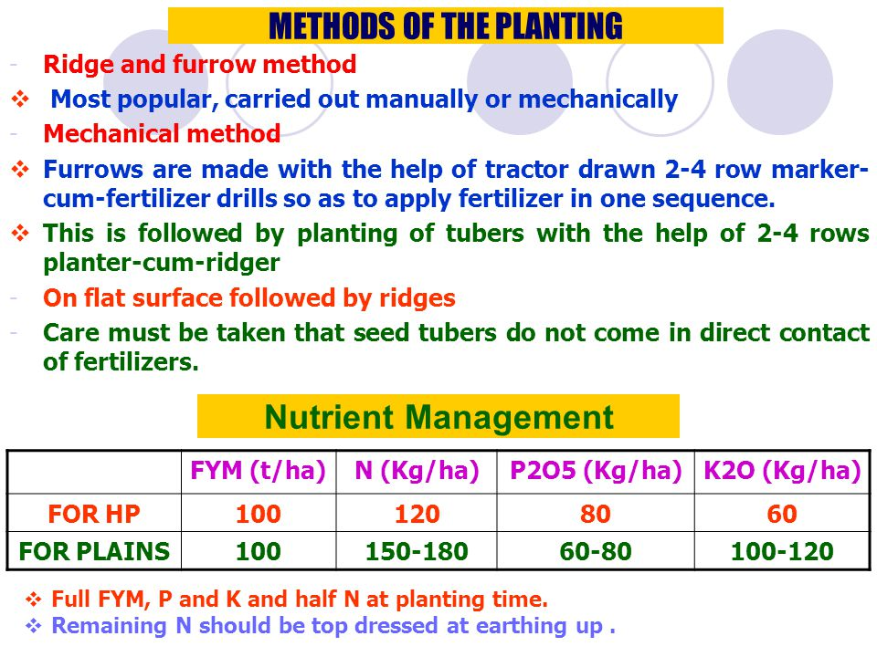METHODS OF THE PLANTING