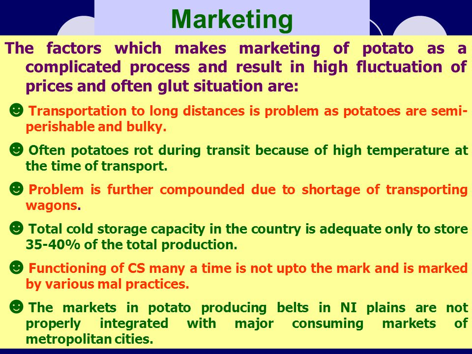 Marketing The factors which makes marketing of potato as a complicated process and result in high fluctuation of prices and often glut situation are: