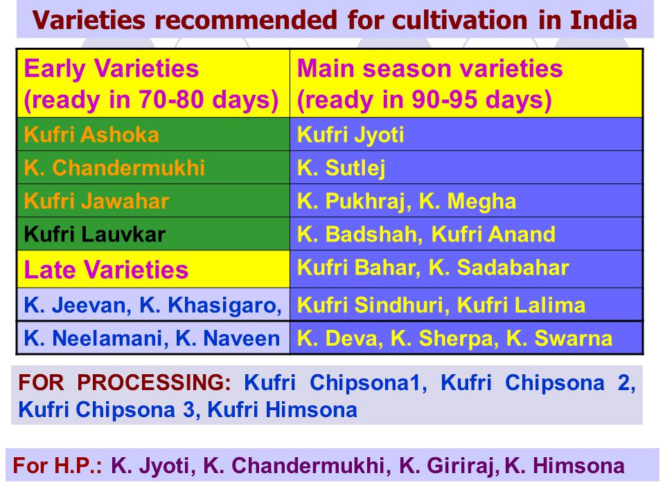 Varieties recommended for cultivation in India