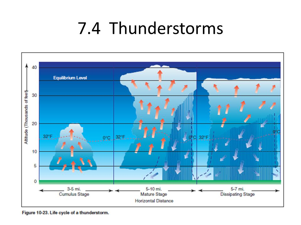 7.4 Thunderstorms Thunderstorms have three phases in their life cycle