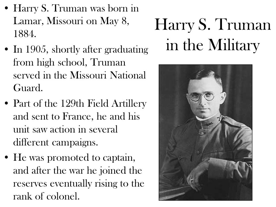 Harry S. Truman in the Military