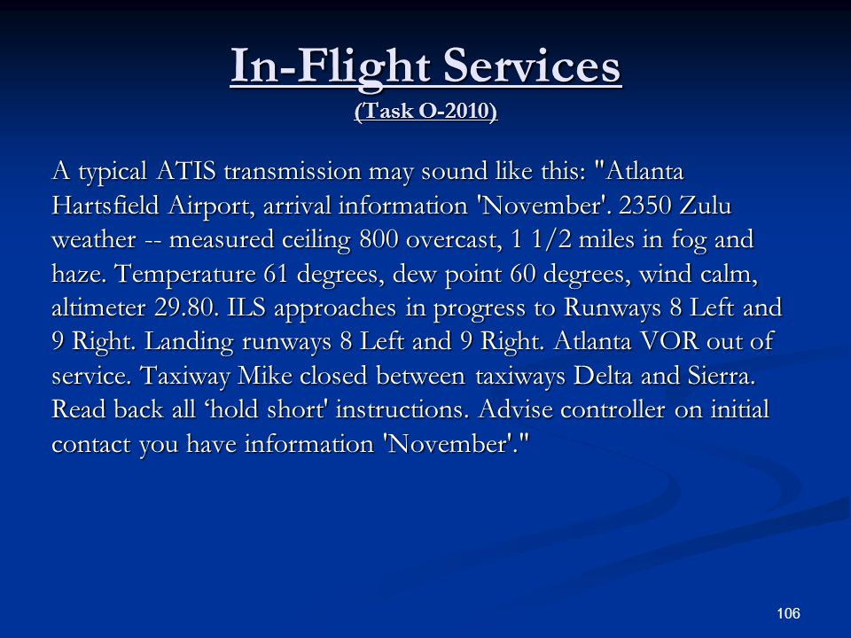 In-Flight Services (Task O-2010)