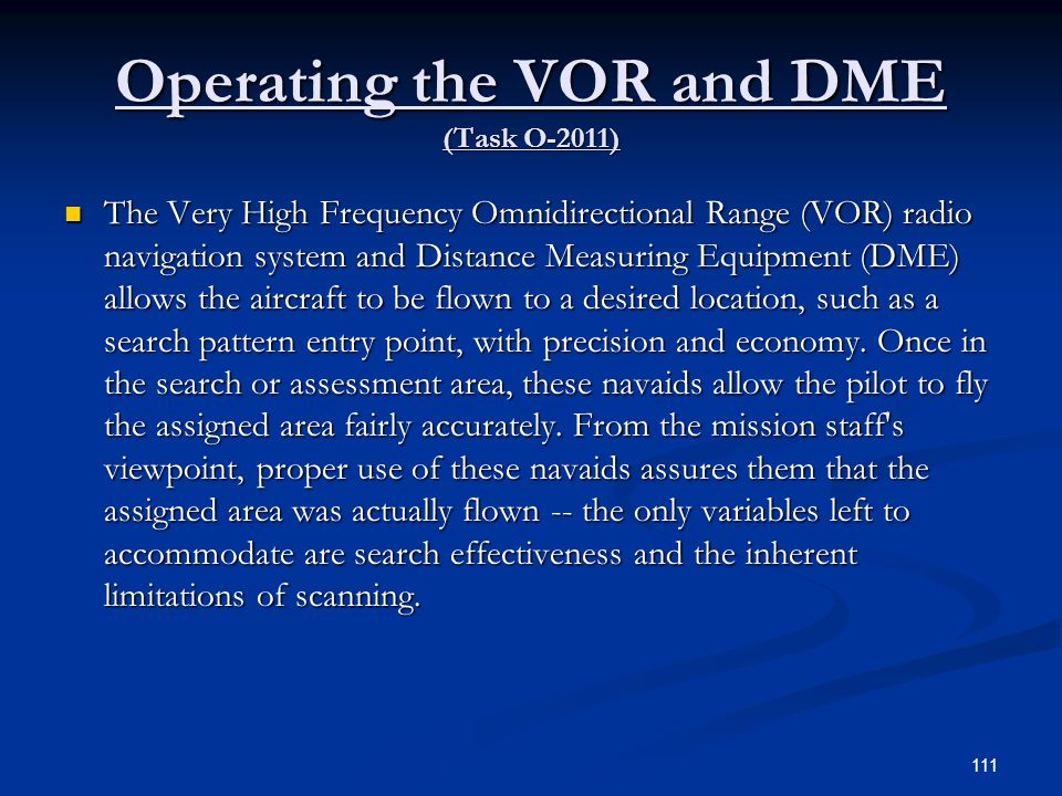 Operating the VOR and DME (Task O-2011)