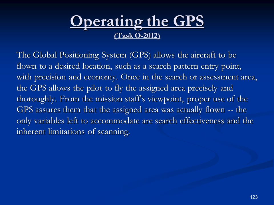 Operating the GPS (Task O-2012)