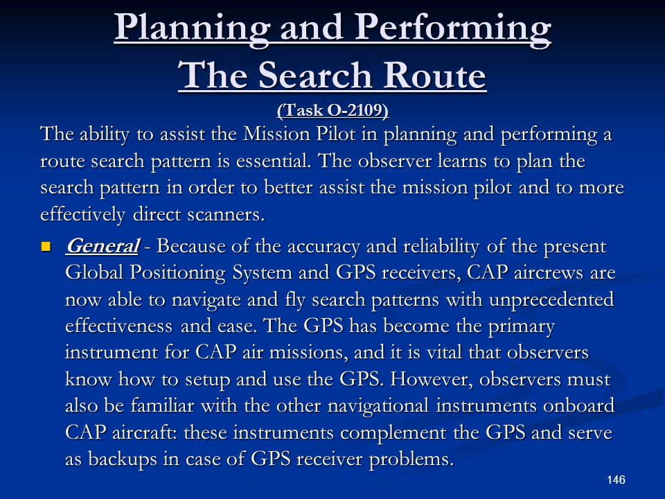 Planning and Performing The Search Route (Task O-2109)