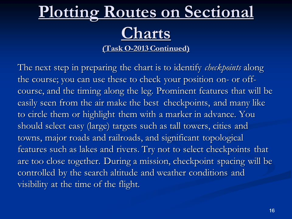 Plotting Routes on Sectional Charts (Task O-2013 Continued)