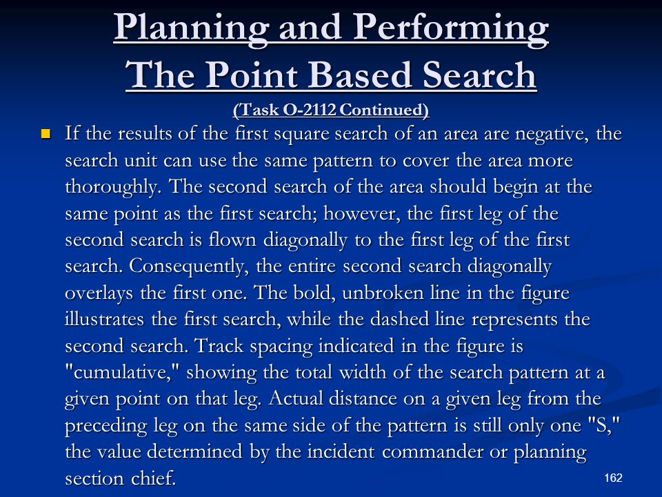 Planning and Performing The Point Based Search (Task O-2112 Continued)