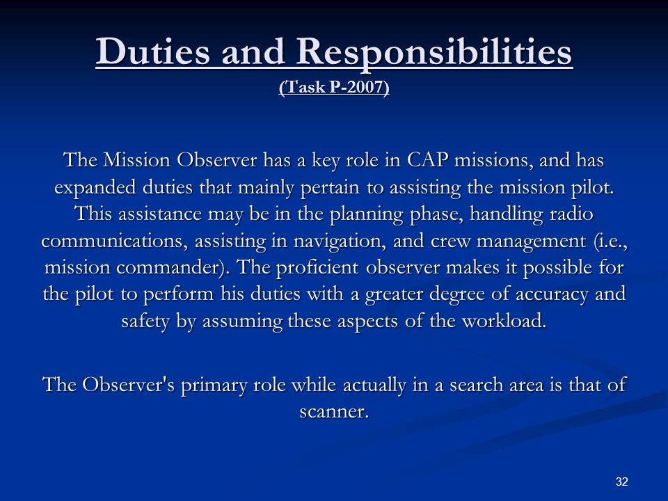 Duties and Responsibilities (Task P-2007)