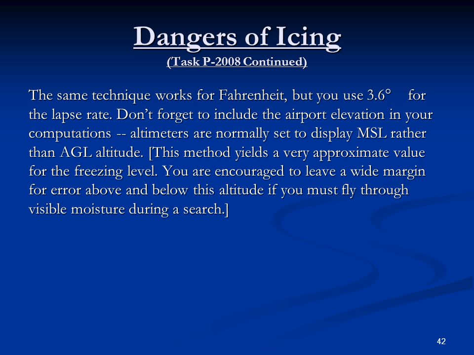 Dangers of Icing (Task P-2008 Continued)