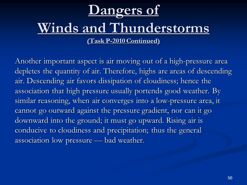 Dangers of Winds and Thunderstorms (Task P-2010 Continued)