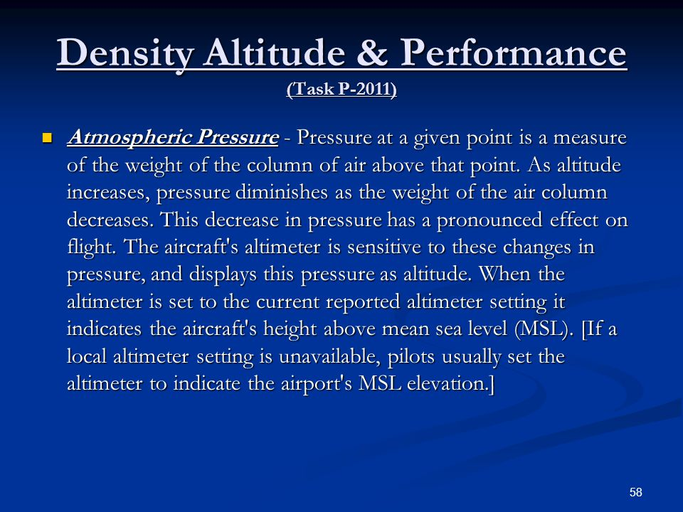 Density Altitude & Performance (Task P-2011)