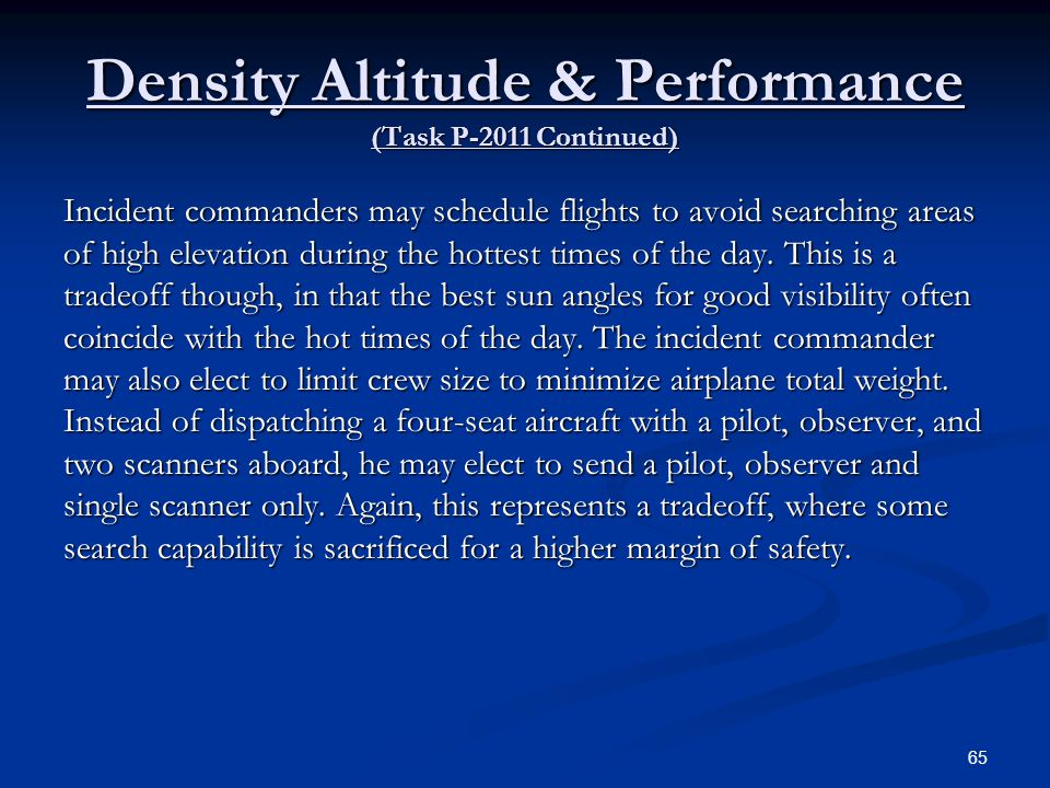 Density Altitude & Performance (Task P-2011 Continued)