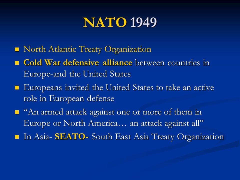 NATO 1949 North Atlantic Treaty Organization