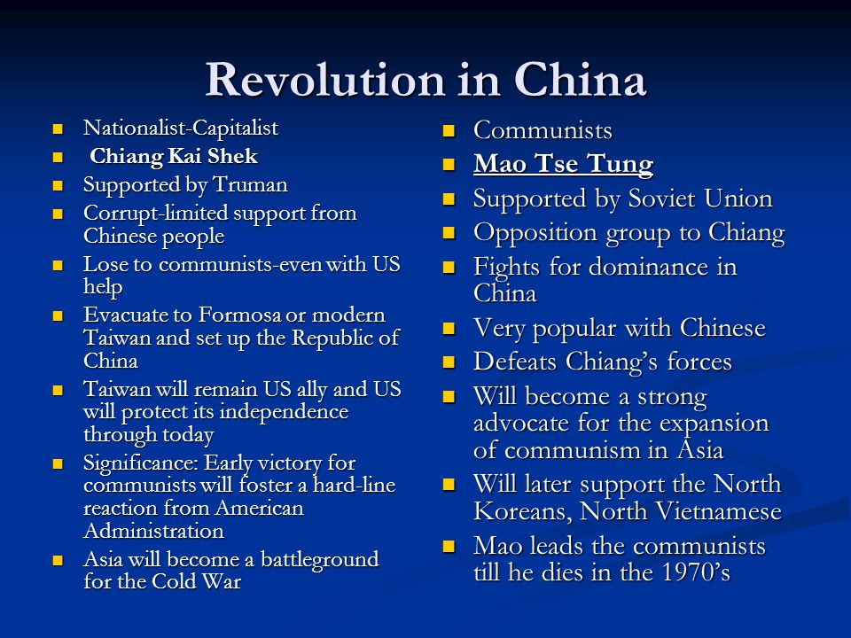 Revolution in China Communists Mao Tse Tung Supported by Soviet Union