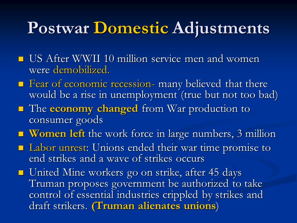 Postwar Domestic Adjustments