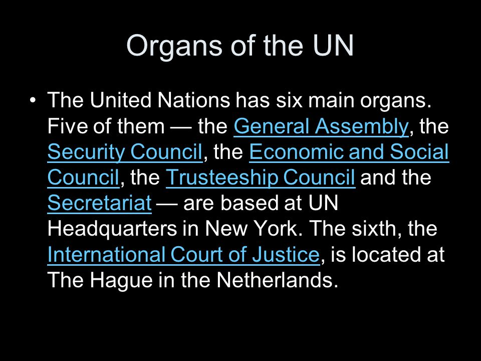 Organs of the UN