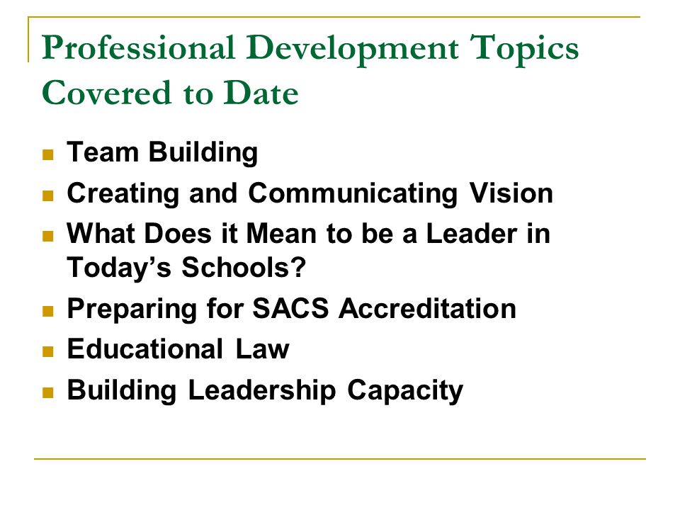 Professional Development Topics Covered to Date