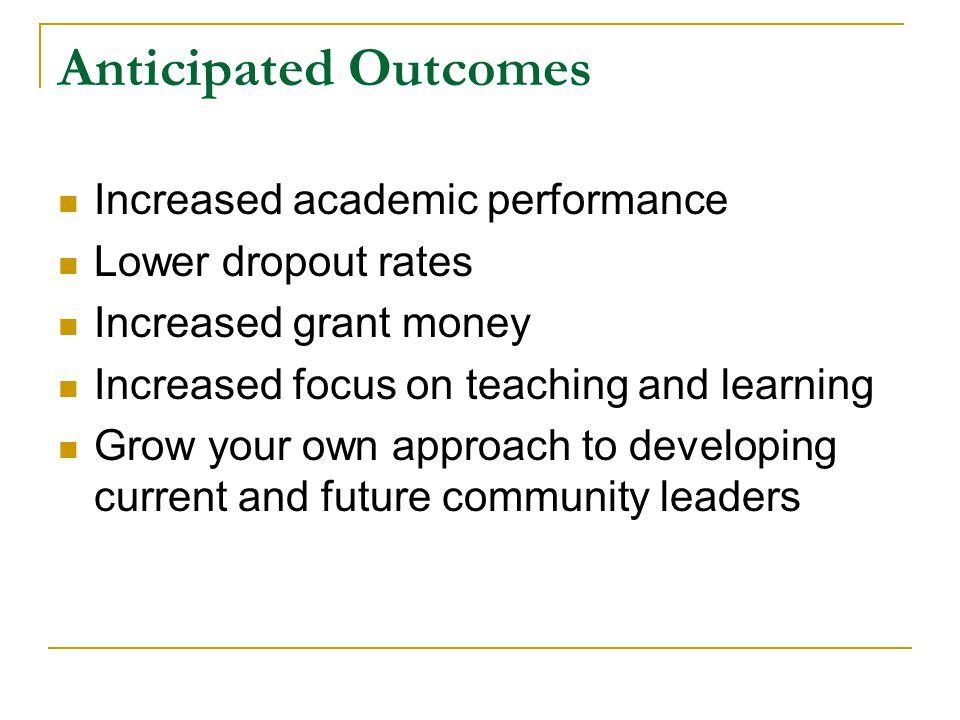 Anticipated Outcomes Increased academic performance