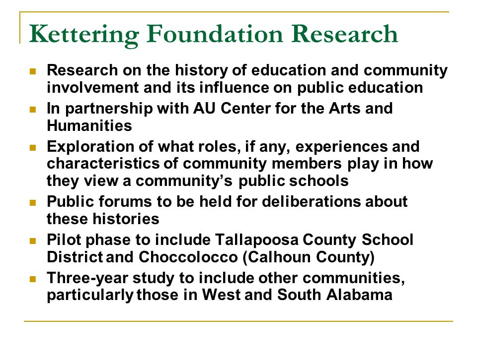 Kettering Foundation Research
