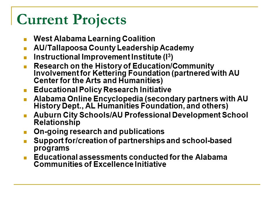 Current Projects West Alabama Learning Coalition