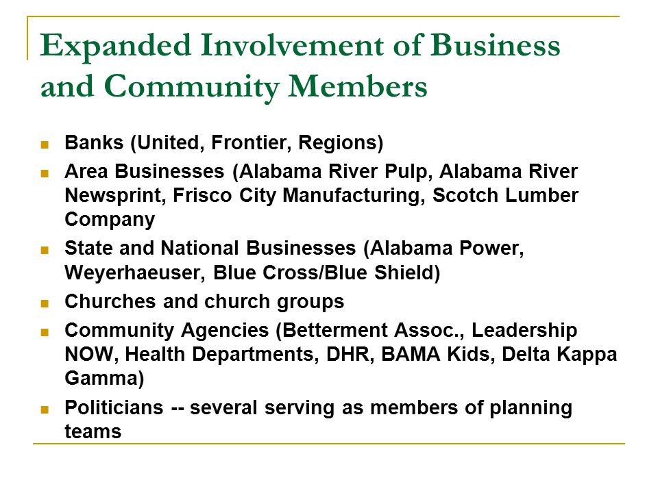 Expanded Involvement of Business and Community Members