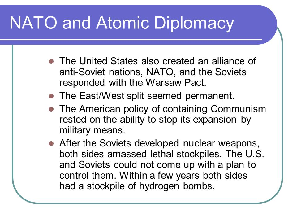 NATO and Atomic Diplomacy