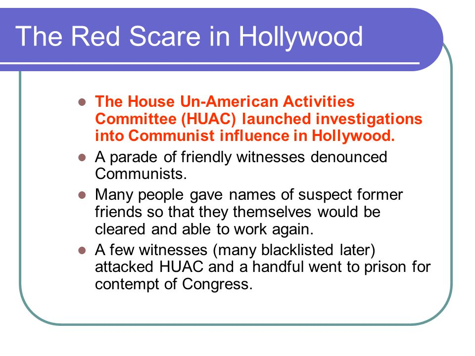 The Red Scare in Hollywood
