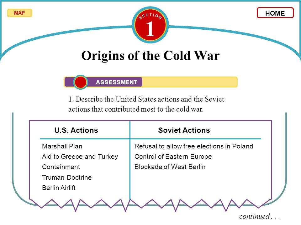 S E C T I O N 1. Origins of the Cold War. MAP. HOME. ASSESSMENT.