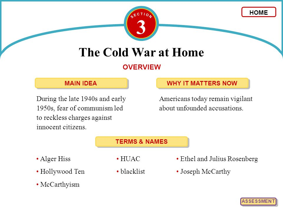 3 The Cold War at Home OVERVIEW