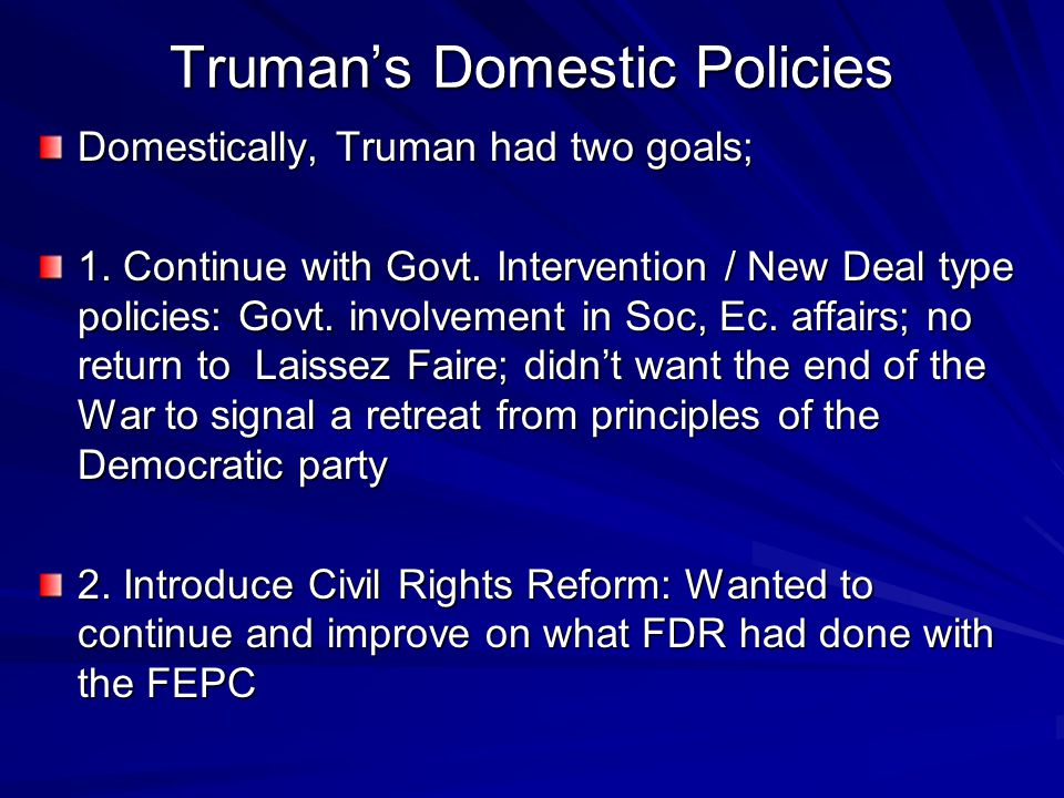 Truman's Domestic Policies
