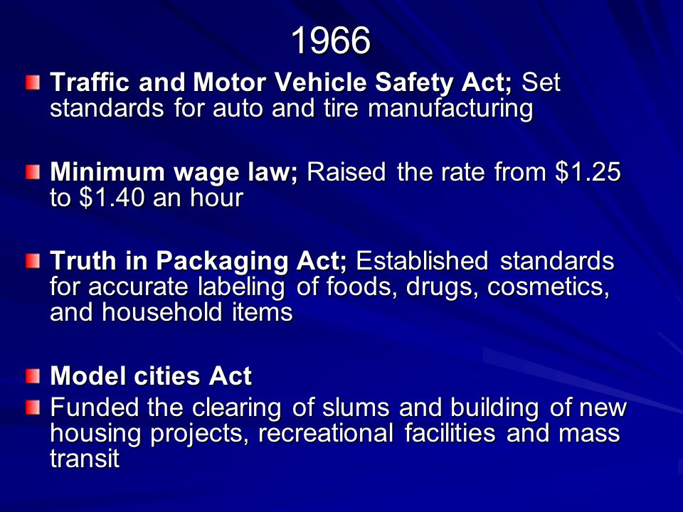 1966 Traffic and Motor Vehicle Safety Act; Set standards for auto and tire manufacturing.