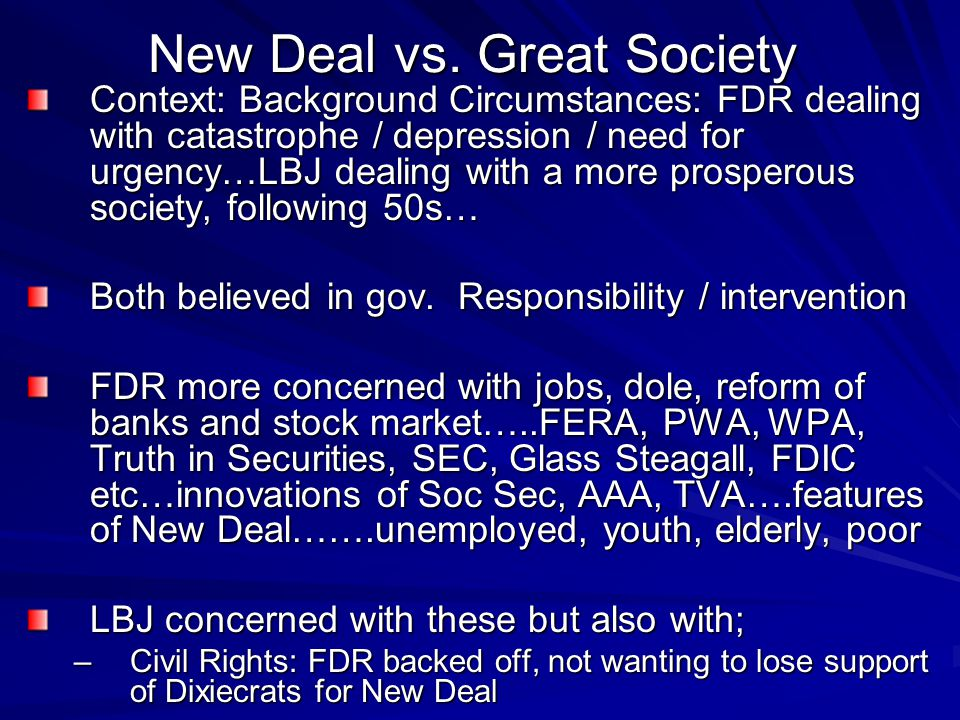 New Deal vs. Great Society