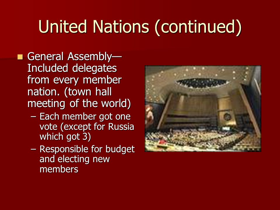 United Nations (continued)