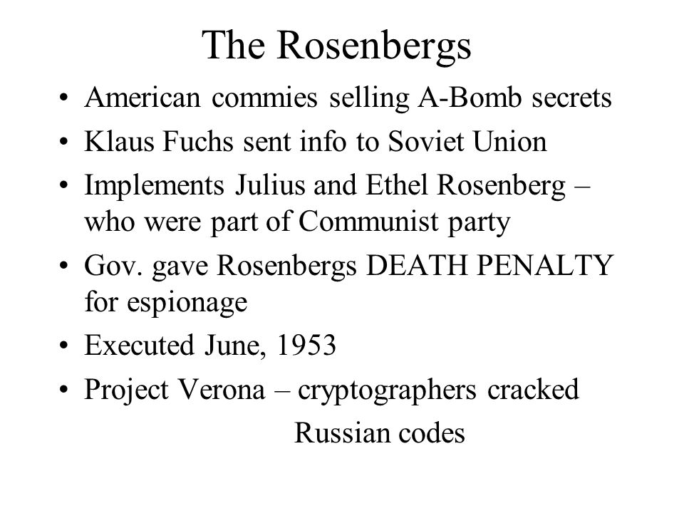 The Rosenbergs American commies selling A-Bomb secrets