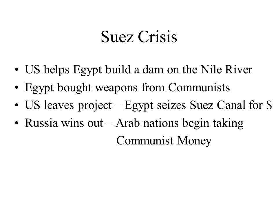 Suez Crisis US helps Egypt build a dam on the Nile River