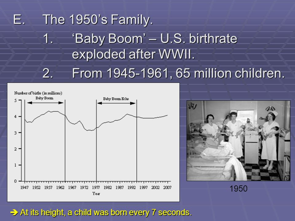 1. 'Baby Boom' – U.S. birthrate exploded after WWII.